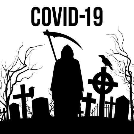 Silhouette of the Cemetery and Angel of Death with a Scythe on the White Background. Apocalypse and Hell Concept Design Coronavirus Epidemic COVID-19. Deadly SARS-CoV-2 Spread in Europe and World Ilustração Vetorial