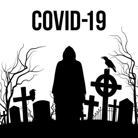 Silhouette of the Cemetery and Angel of Death on the White Background. Apocalypse and Hell Concept Design Coronavirus Epidemic COVID-19. Deadly SARS-CoV-2 Spread in Europe and World Çizim