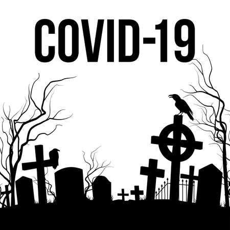 Concept Illustration of Grave Yard. Apocalypse and Hell Concept Design. Deadly SARS-COVID-19 Spread in Europe and World
