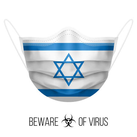 Medical Mask with National Flag of Israel as Icon on White. Protective Mask Virus and Flu. Surgery Concept of Health Care Problems and Fight Novel Coronavirus (2019-nCoV) in Form of Israeli flag