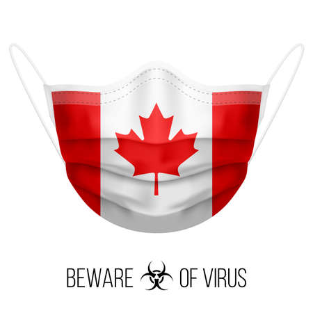 Medical Mask with National Flag of Canada as Icon on White. Protective Mask Virus and Flu. Surgery Concept of Health Care Problems and Fight Novel Coronavirus (2019-nCoV) in Form of Canadian flag