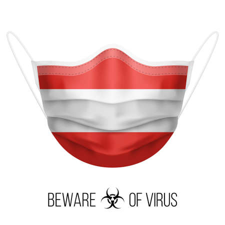 Medical Mask with National Flag of Austria as Icon on White. Protective Mask Virus and Flu. Surgery Concept of Health Care Problems and Fight Novel Coronavirus (2019-nCoV) in Form of Austrian flag