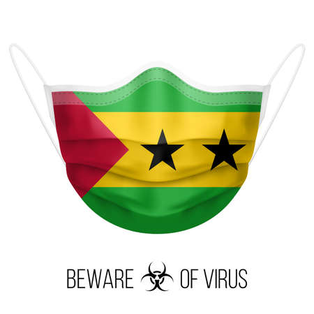 Medical Mask with National Flag of Sao Tome and Principe. Protective Mask Virus and Flu. Surgery Concept of Health Care Problems and Fight Novel Coronavirus (2019-nCoV) in Form of flag design Ilustração Vetorial