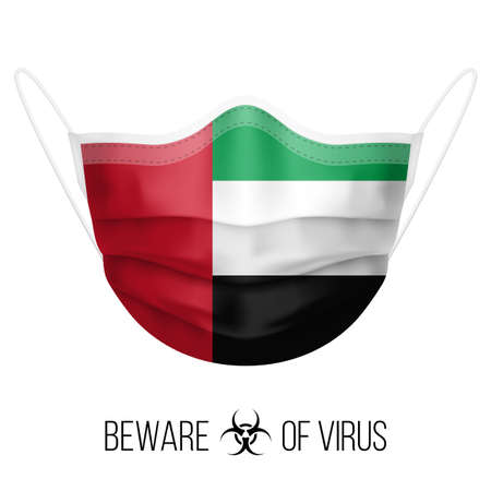 Medical Mask with National Flag of United Arab Emirates. Protective Mask Virus and Flu. Surgery Concept of Health Care Problems and Fight Novel Coronavirus (2019-nCoV) in Form of flag design