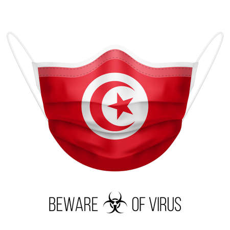 Medical Mask with National Flag of Tunisia as Icon on White. Protective Mask Virus and Flu. Surgery Concept of Health Care Problems and Fight Novel Coronavirus (2019-nCoV) in Form of Tunisian flag
