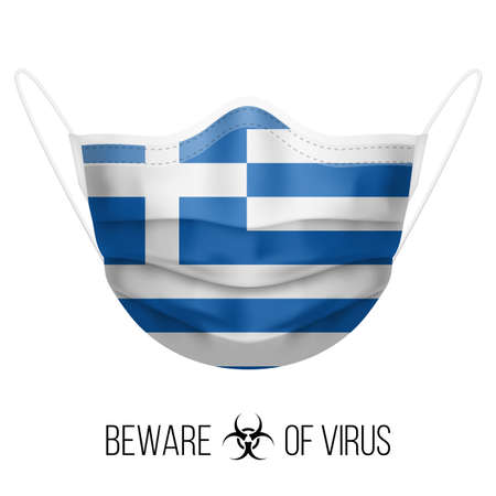 Medical Mask with National Flag of Greece as Icon on White. Protective Mask Virus and Flu. Surgery Concept of Health Care Problems and Fight Novel Coronavirus (2019-nCoV) in Form of Greek flag Vektorgrafik