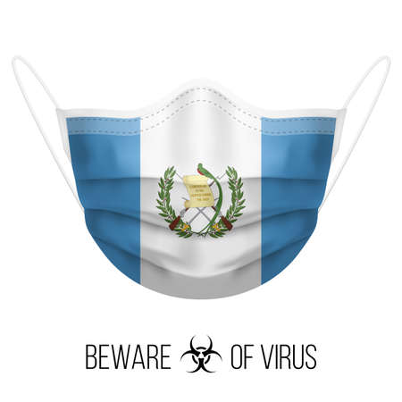 Medical Mask with National Flag of Guatemala. Protective Mask Virus and Flu. Surgery Concept of Health Care Problems and Fight Novel Coronavirus (2019-nCoV) in Form of Guatemalan flag