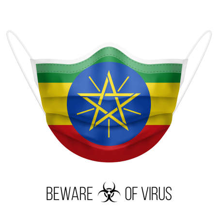 Medical Mask with National Flag of Ethiopia as Icon on White. Protective Mask Virus and Flu. Surgery Concept of Health Care Problems and Fight Novel Coronavirus (2019-nCoV) in Form of Ethiopian flag