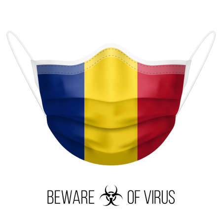 Medical Mask with National Flag of Romania as Icon on White. Protective Mask Virus and Flu. Surgery Concept of Health Care Problems and Fight Novel Coronavirus (2019-nCoV) in Form of Romanian flag Ilustracja