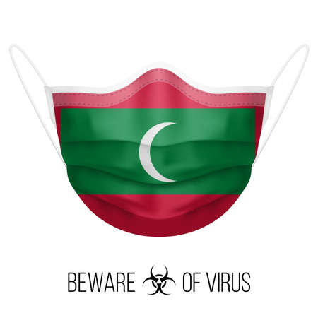 Medical Mask with National Flag of Maldives as Icon on White. Protective Mask Virus and Flu. Surgery Concept of Health Care Problems and Fight Novel Coronavirus (2019-nCoV) in Form of Maldivian flag