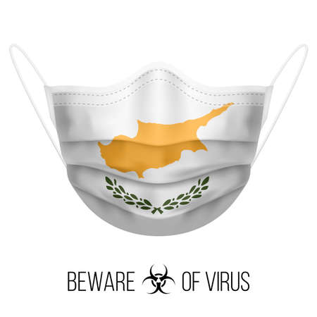 Medical Mask with National Flag of Cyprus as Icon on White. Protective Mask Virus and Flu. Surgery Concept of Health Care Problems and Fight Novel Coronavirus (2019-nCoV) in Form of Cypriot flag 向量圖像