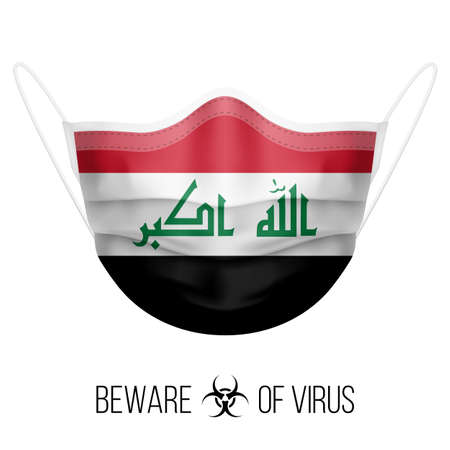 Medical Mask with National Flag of Iraq as Icon on White. Protective Mask Virus and Flu. Surgery Concept of Health Care Problems and Fight Novel Coronavirus (2019-nCoV) in Form of Iraqi flag
