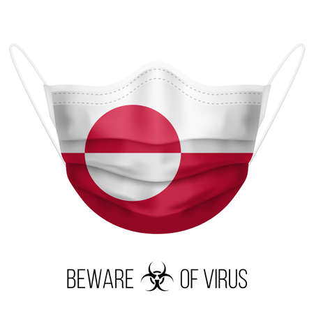 Medical Mask with National Flag of Greenland as Icon on White. Protective Mask Virus and Flu. Surgery Concept of Health Care Problems and Fight Novel Coronavirus (2019-nCoV) in Form of flag design Vectores