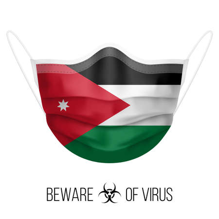 Medical Mask with National Flag of Jordan as Icon on White. Protective Mask Virus and Flu. Surgery Concept of Health Care Problems and Fight Novel Coronavirus (2019-nCoV) in Form of Jordanian flag