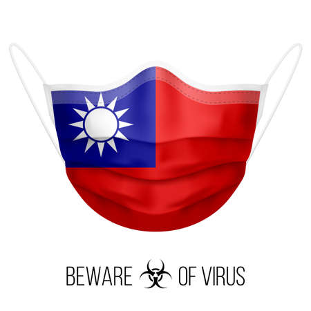 Medical Mask with National Flag of Taiwan as Icon on White. Protective Mask Virus and Flu. Surgery Concept of Health Care Problems and Fight Novel Coronavirus (2019-nCoV) in Form of flag design