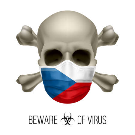 Human Skull with Crossbones and Surgical Mask in the Color of National Flag Czech Republic. Mask in Form of the Czech Flag and Skull as Concept of Dire Warning that the Viral Disease Can be Fatal 矢量图像