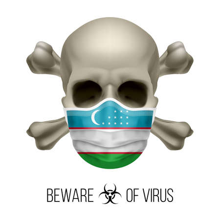 Human Skull with Crossbones and Surgical Mask in the Color of National Flag Uzbekistan. Mask in Form of the Uzbek Flag and Skull as Concept of Dire Warning that the Viral Disease Can be Fatal