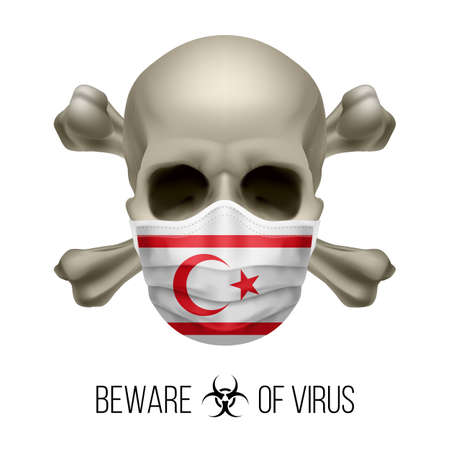 Human Skull with Crossbones and Surgical Mask in the Color of National Flag Northern Cyprus. Mask in Form of the Flag and Skull as Concept of Dire Warning that the Viral Disease Can be Fatal.