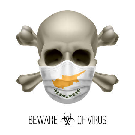 Human Skull with Crossbones and Surgical Mask in the Color of National Flag Cyprus. Mask in Form of the Cypriot Flag and Skull as Concept of Dire Warning that the Viral Disease Can be Fatal 向量圖像
