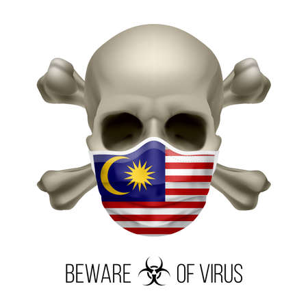 Human Skull with Crossbones and Surgical Mask in the Color of National Flag Malaysia. Mask in Form of the Malaysian Flag and Skull as Concept of Dire Warning that the Viral Disease Can be Fatal