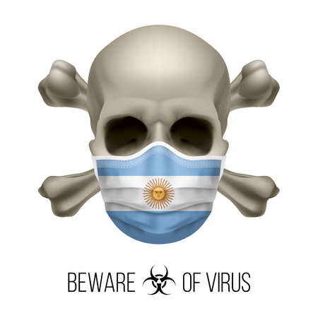 Human Skull with Crossbones and Surgical Mask in the Color of National Flag Argentina. Mask in Form of the Argentinian Flag and Skull as Concept of Dire Warning that the Viral Disease Can be Fatal
