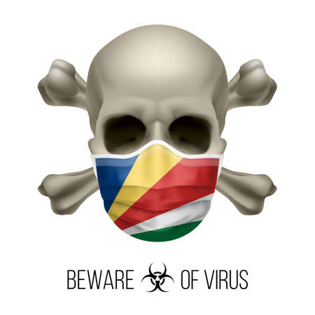 Human Skull with Crossbones and Surgical Mask in the Color of National Flag Seychelles. Mask in Form of the Flag and Skull as Concept of Dire Warning that the Viral Disease Can be Fatal.