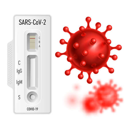 Lab Card Kit to Detect COVID-19 Coronavirus in Patient Samples. Test IgM-IgG Rapid Test on White Background and Red Virus COVID-19 Cell in Spherical Shape with Long Antennas
