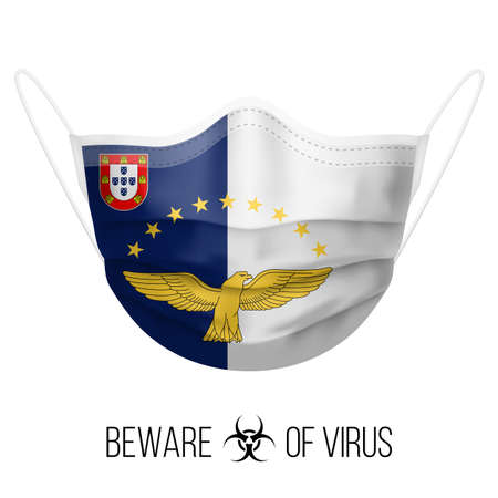 Medical Mask with National Flag of Azores. Protective Mask Virus and Flu. Surgery Concept of Health Care Problems and Fight Novel Coronavirus (2019-nCoV) in Form of flag design
