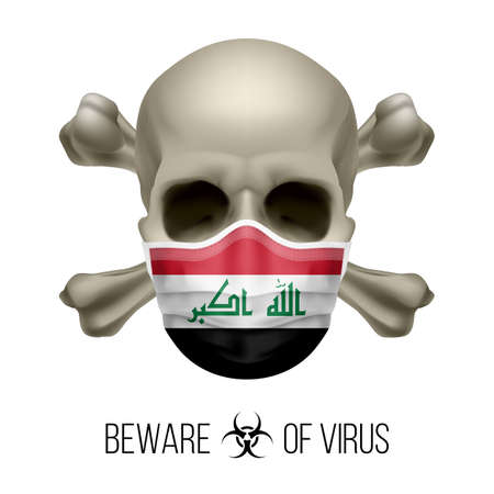Human Skull with Crossbones and Surgical Mask in the Color of National Flag Iraq. Mask in Form of the Iraqi Flag and Skull as Concept of Dire Warning that the Viral Disease Can be Fatal