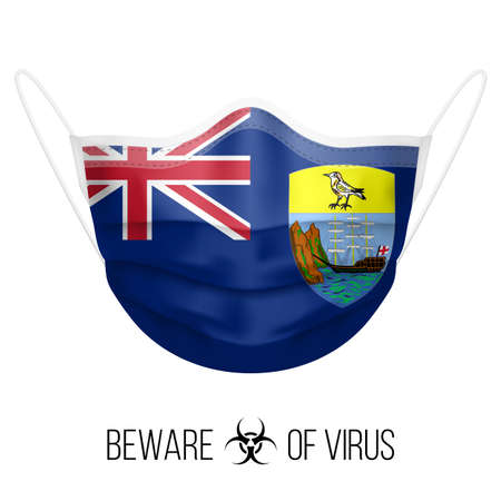 Medical Mask in the Colors of Saint Helena Flag. Protective Mask Virus and Flu. Surgery Concept of Health Care Problems and Fight Novel Coronavirus (2019-nCoV)