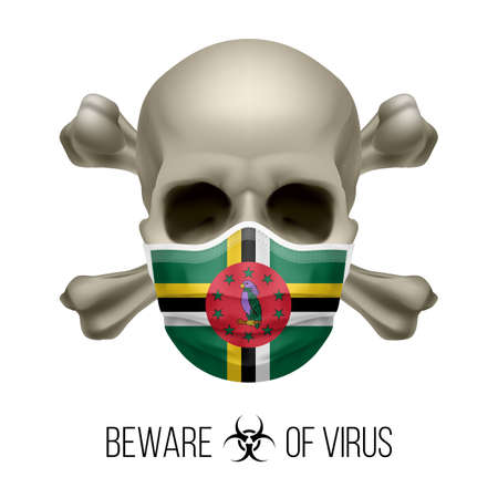 Human Skull with Crossbones and Surgical Mask in the Color of National Flag Dominica. Mask in Form of the Dominican Flag and Skull as Concept of Dire Warning that the Viral Disease Can be Fatal