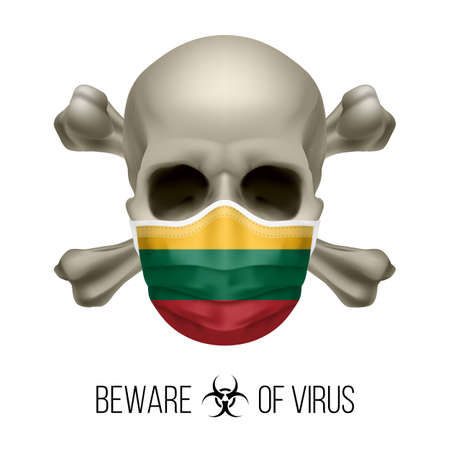 Human Skull with Crossbones and Surgical Mask in the Color of National Flag Lithuania. Mask in Form of the Lithuanian Flag and Skull as Concept of Dire Warning that the Viral Disease Can be Fatal