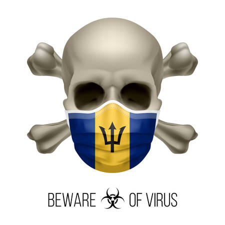 Human Skull with Crossbones and Surgical Mask in the Color of National Flag Barbados. Mask in Form of the Barbadian Flag and Skull as Concept of Dire Warning that the Viral Disease Can be Fatal