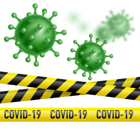 Warning Coronavirus COVID-19 Quarantine Banner with Yellow and Black Stripes and Virus Green Cell. Information Warning Signs About Quarantine Measures in Public Places