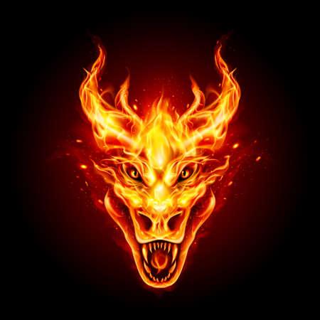 Cabeza de dragón de fuego legendario en el fondo oscuro. Dragón chino tradicional. Criatura de fuego para su producto Ilustración de vector
