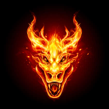 Legendary Fire Dragon Head on the Dark Background. Traditional Chinese Dragon. Fire Creature For Your Product Vetores