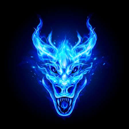 Fire Dragon Head in Blue Flame on the Dark Background. Modern Illustration Concept Style for Badge, Emblem and T-Shirt Printing