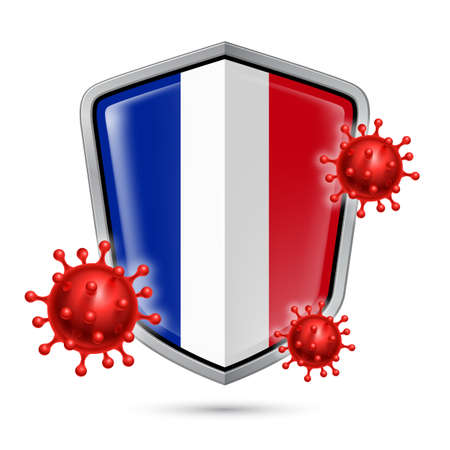 Flag of France on Metal Shiny Shield Icon and Red Corona Virus Cells. Concept of Health Care and Safety Badge. Security Safeguard Metal Label with French flag