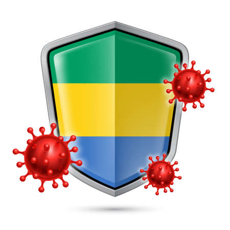Flag of Gabon on Metal Shiny Shield Icon and Red Corona Virus Cells. Concept of Health Care and Safety Badge. Security Safeguard Metal Label with Gabonese flag