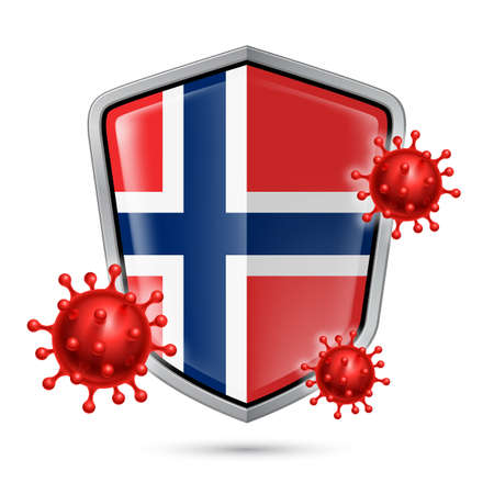 Flag of Norway on Metal Shiny Shield Icon and Red Corona Virus Cells. Concept of Health Care and Safety Badge. Security Safeguard Metal Label with Norwegian flag