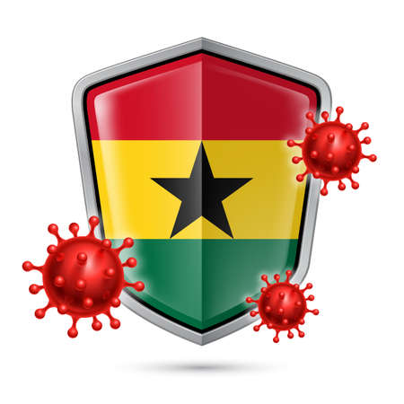 Flag of Ghana on Metal Shiny Shield Icon and Red Corona Virus Cells. Concept of Health Care and Safety Badge. Security Safeguard Metal Label with Ghanaian flag
