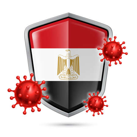 Flag of Egypt on Metal Shiny Shield Icon and Red Corona Virus Cells. Concept of Health Care and Safety Badge. Security Safeguard Metal Label with Egyptian flag