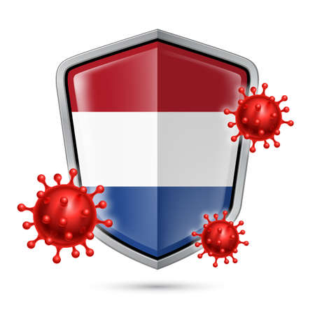 Flag of Netherlands on Metal Shiny Shield Icon and Red Corona Virus Cells. Concept of Health Care and Safety Badge. Security Safeguard Metal Label with Dutch flag  イラスト・ベクター素材