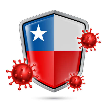 Flag of Chile on Metal Shiny Shield Icon and Red Corona Virus Cells. Concept of Health Care and Safety Badge. Security Safeguard Metal Label with Chilean flag