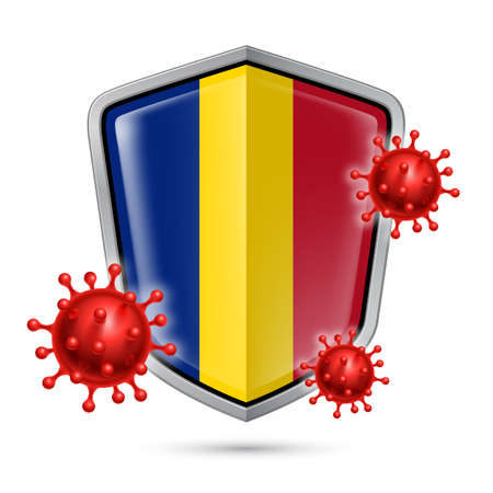 Flag of Romania on Metal Shiny Shield Icon and Red Corona Virus Cells. Concept of Health Care and Safety Badge. Security Safeguard Metal Label with Romanian flag  イラスト・ベクター素材