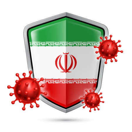 Flag of Iran on Metal Shiny Shield Icon and Red Corona Virus Cells. Concept of Health Care and Safety Badge. Security Safeguard Metal Label with Iranian flag  イラスト・ベクター素材