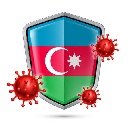 Flag of Azerbaijan on Metal Shiny Shield Icon and Red Corona Virus Cells. Concept of Health Care and Safety Badge. Security Safeguard Metal Label with Azerbaijanian flag