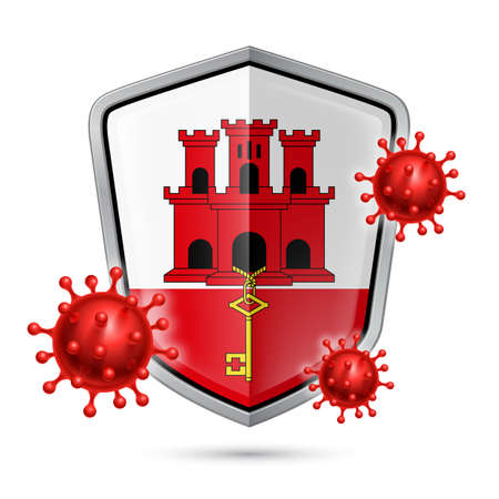 Flag of Gibraltar on Metal Shiny Shield Icon and Red Corona Virus Cells. Concept of Health Care and Safety Badge. Security Safeguard Metal Label with flag design
