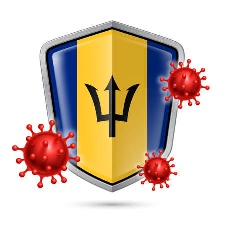 Flag of Barbados on Metal Shiny Shield Icon and Red Corona Virus Cells. Concept of Health Care and Safety Badge. Security Safeguard Metal Label with Barbadian flag