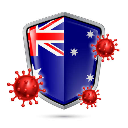 Flag of Australia on Metal Shiny Shield Icon and Red Corona Virus Cells. Concept of Health Care and Safety Badge. Security Safeguard Metal Label with Australian flag
